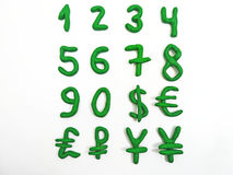 Green numbers and money currency. Royalty Free Stock Image