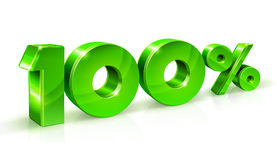 Green numbers Sale 100 persents off on a white background. Sale 100 off on a white background. Shiny green 3d sign one hundred percents. Suitable for use on Stock Illustration