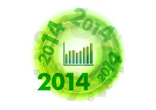 Green numbers. Small graph in the middle of numbers circle royalty free illustration