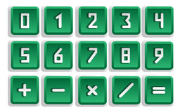 Green Numeric Button Set Stock Photos