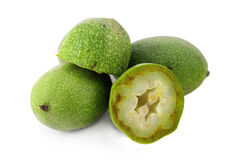 Green Nuts. Isolated on white background Stock Photos