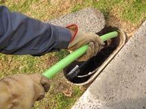 Green Nylon jacketed 576 fiber optic ribbon cable installation Royalty Free Stock Photo
