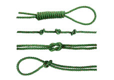 Green nylon rope tied the knot Royalty Free Stock Image