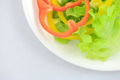 Green oak lettuce with multi color bell peppers Stock Photo