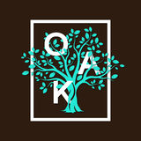 Green oak tree. Beautiful green oak tree silhouette on brown background. Infographic modern vector sign Royalty Free Stock Photo