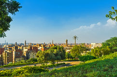 The green oasis in Cairo. The Al-Azhar Park is the green oasis in the center of large urban and desert Cairo, Egypt royalty free stock images
