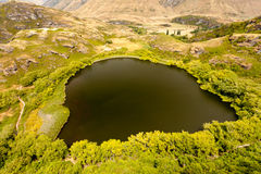Green oasis in dry highlands of Central Otago, NZ royalty free stock images