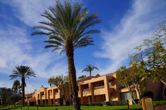 Green oasis with Palm trees. RANCHO MIRAGE, CALIFORNIA - DEC 20, 2014 - Southwestern style hotel buildings in green oasis with Palm trees, Rancho Mirage stock photography