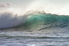 Green Ocean Wave Translucent with sunset light. Beautiful Ocean Background Big Shorebreak Wave for Surfing. Hawaiian swell for sport activity. Power and Energy Royalty Free Stock Photos