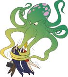 Green octopus. An octopus of a tax system takes business people with a friendly hug vector illustration