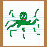 Green octopus caught on the lines of sheet. Cute green octopus caught in the lines of sheet, cartoon vector illustration Stock Photography