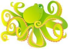 Green octopus. Vector illustration  Stock Image