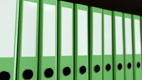 Green office binders. 3D rendering. Green office binders on the shelf Royalty Free Stock Photography