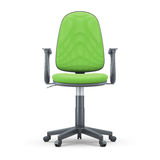 Green Office chair front view. Green Office chair isolated on white background. 3d illustration. Green Office chair front view Royalty Free Stock Photos