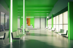 Green office lobby with NY view Stock Images