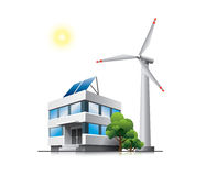 Green office. Sustainable office with solar panels and wind turbine. This illustration is EPS10 vector file and includes transparency and blend effects Stock Images