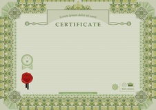 Green official certificate. Green ornamental wide border and wafer. Stock Image