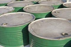 Green oil barrels Royalty Free Stock Photos