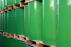 Green oil barrels Royalty Free Stock Images