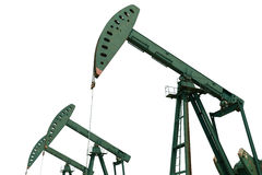 Green Oil pump of crude oilwell rig isolated on white background Royalty Free Stock Photo