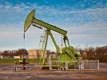 Green Oil Pump Jack royalty free stock photos