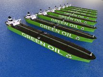 Green oil Tanker FLEET concept. 3D render image of a row of oil tankers representing a Fleet of green oil tanker Stock Photography