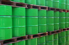 Green oildrums stock photo