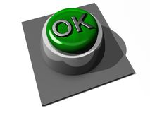 Green OK button. 3d illustration of green OK button isolated on white background Royalty Free Stock Image