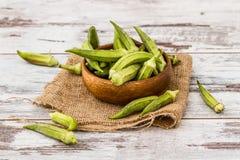 Green Okra Vegetable Stock Photo