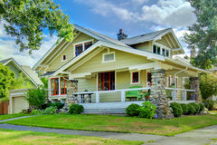 Green Old Craftsman Style Home With Covered Porch. Royalty Free Stock Images