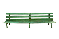 Green old park bench isolated on white