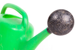 Green old plastic watering can Stock Photos