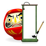 Green Old Scroll And Daruma Doll Stock Photo