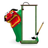 Green Old Scroll And Lion Dance Stock Photos