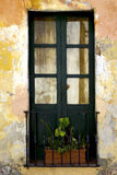green old window little terrce and flower Stock Images