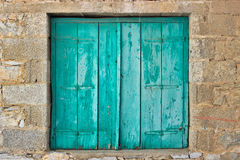 Green old window shutter Royalty Free Stock Photos