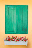 Green old wood window. In orange bacground Royalty Free Stock Images