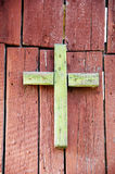Green old wooden cross Royalty Free Stock Photo