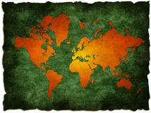 Green old world map. Grunge old world map illustration: computer generated (map derived from NASA world map royalty free illustration