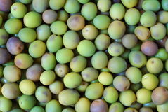 Green olive background. Close up view of green olive background stock photo