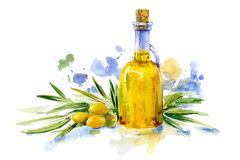 Green olive branch and olive oil in the glass bottle. Food picture.Watercolor hand drawn illustration Royalty Free Stock Photo