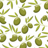 Green olive branch seamless pattern. Natural food background Royalty Free Stock Image
