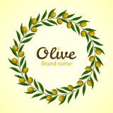Green olive branches wreath Stock Photos