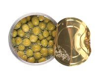 Green olive in a can. Royalty Free Stock Images