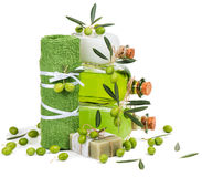 Green olive cosmetic products Royalty Free Stock Images