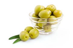 Green olive in a glass bowl Royalty Free Stock Image