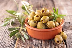 Green olive and herbs Royalty Free Stock Photo