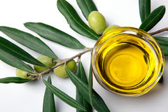 Green Olive With Leaves Stock Images
