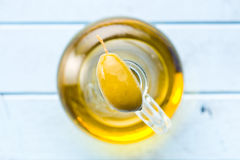 Green olive and olive oil Stock Images