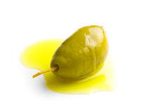 Green olive and olive oil Royalty Free Stock Photography